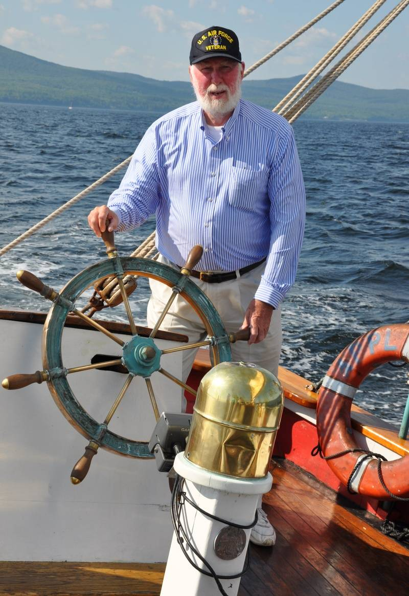 Richard at the helm of the Appledore