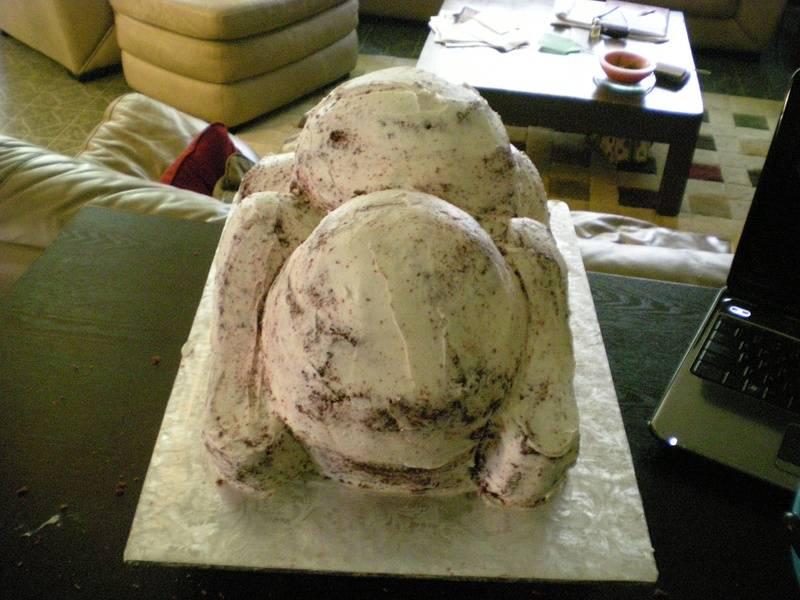 Carved & crumb coated bulldog