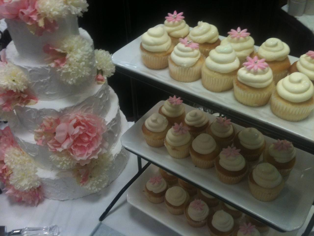 Wedding cake/cupcake display for The Doubletree Bridal Show