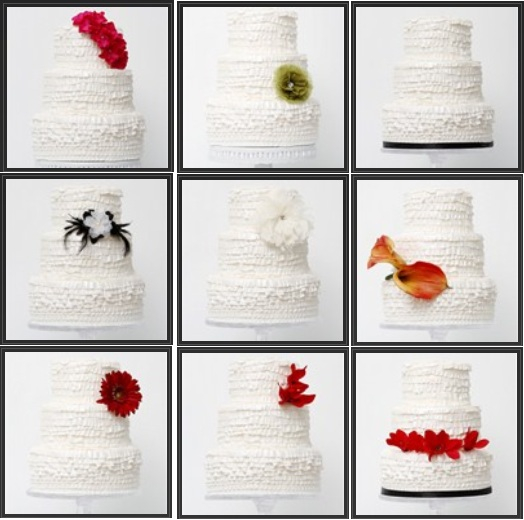 Collage of the same cake staged 9 different ways, shot for Oh-Brides magazine