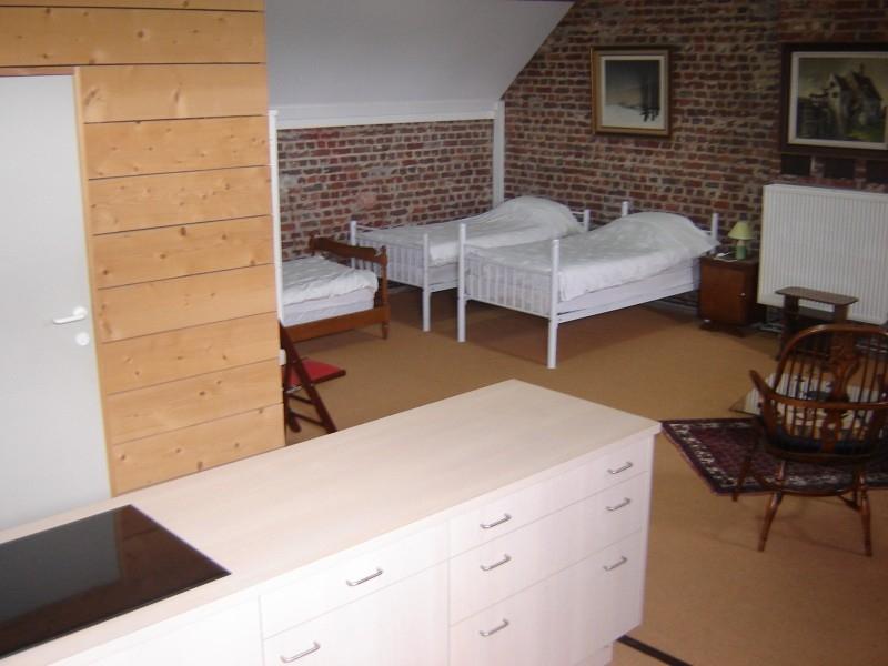 3 single bedden op het penthouse