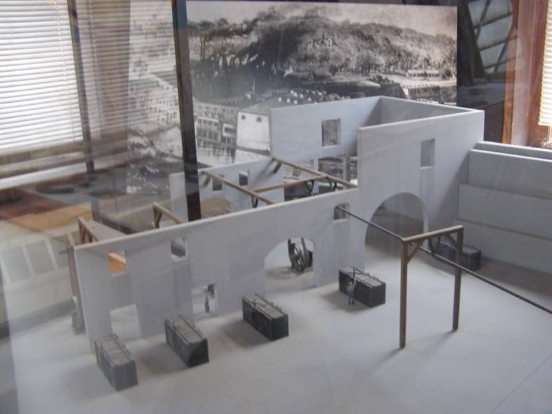 Diorama of early production complex