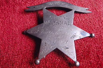 Marshal's Badge of David Clayton Ogsbury