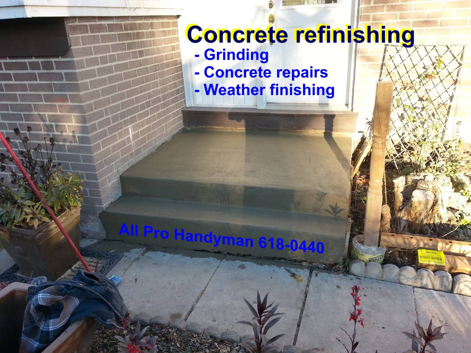 Concrete steps repair & refinishing