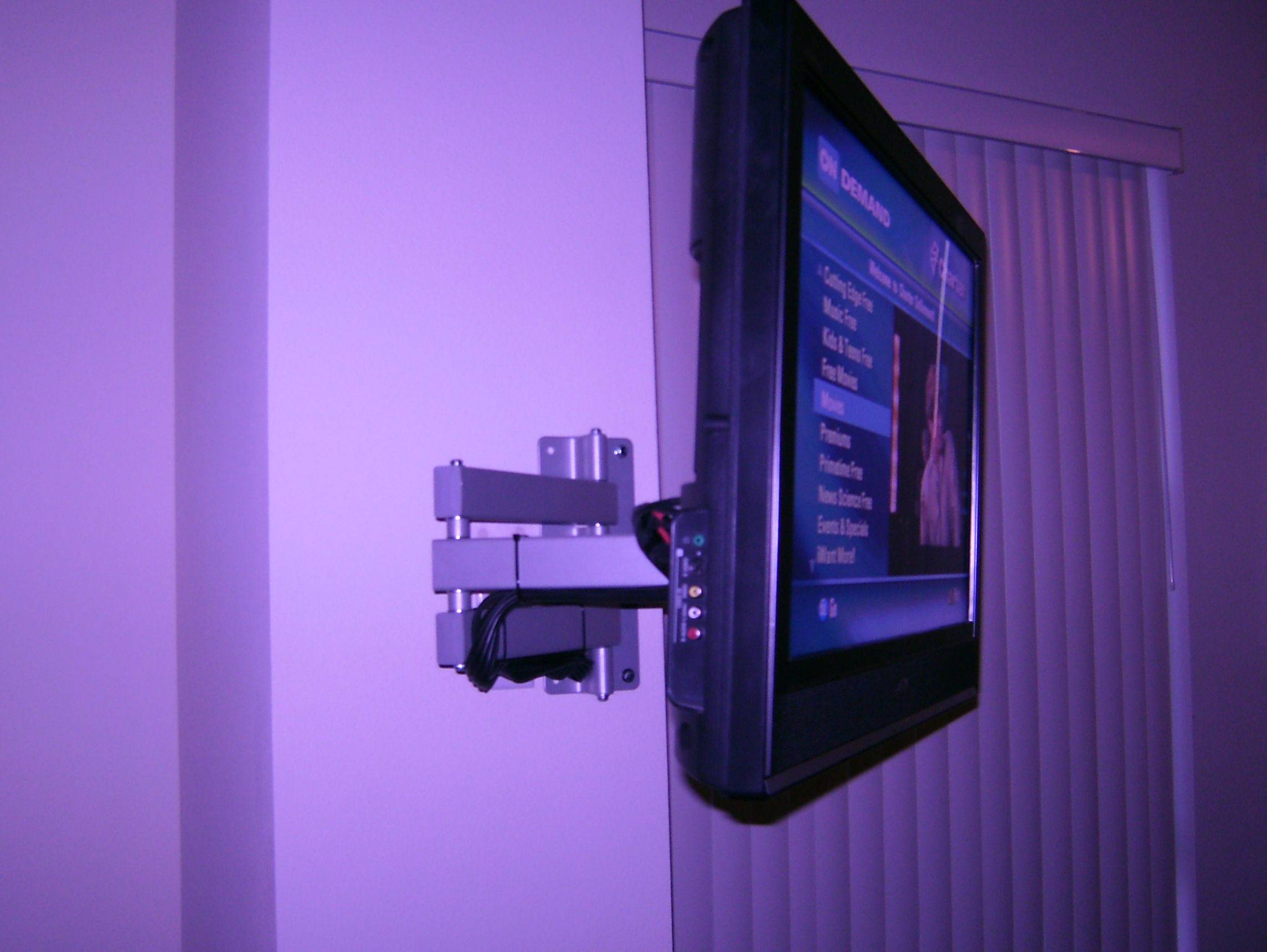 Side View of Cable Management of Swivel Wall Mount Bracket