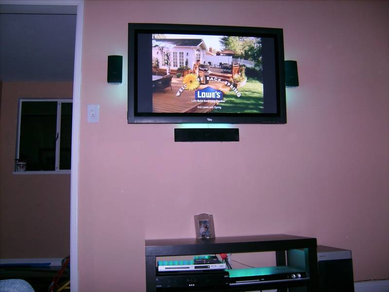 "Premium 42"" Philips LCD TV Installation with 3.1 Surround System and LED backlighting to speakers and TV"