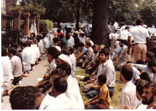 Muslims on the sidewalk