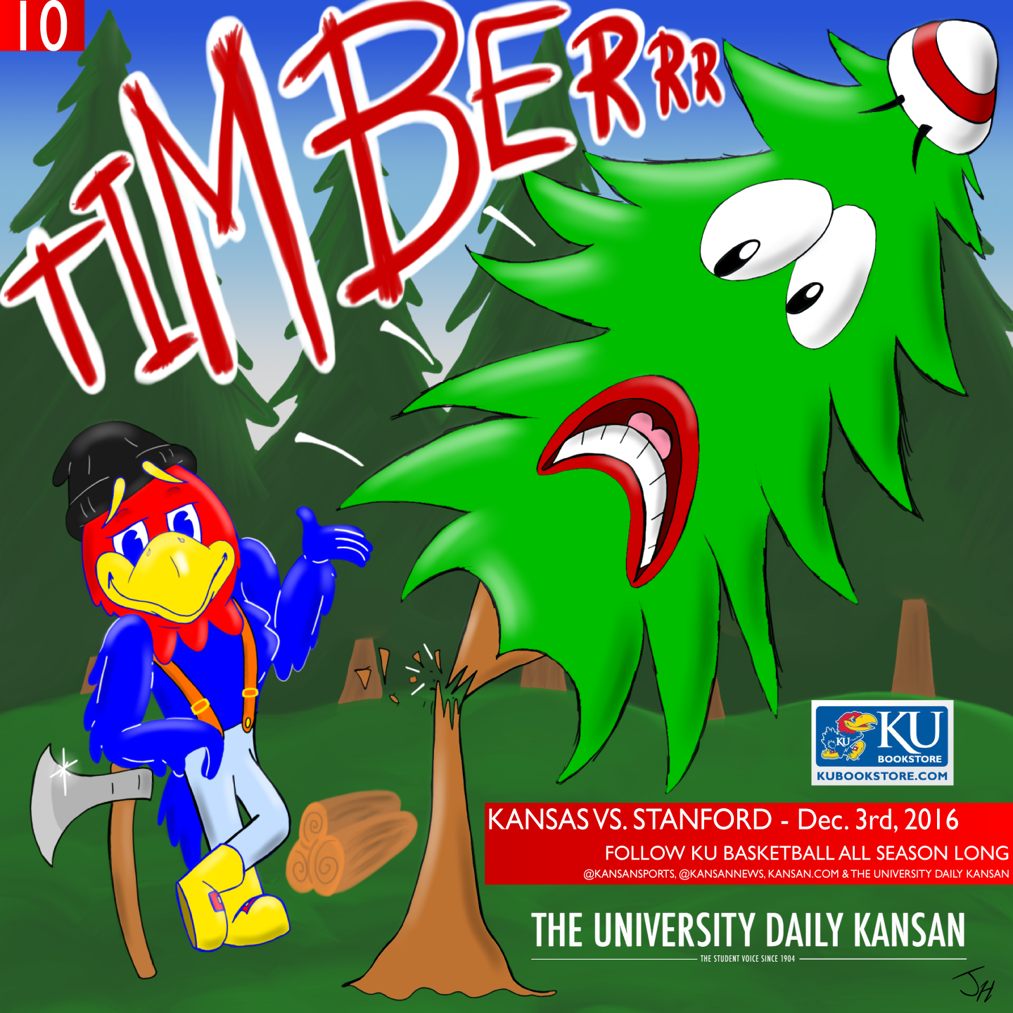 University Daily Kansan Basketball Gameday Poster - Stanford 2016