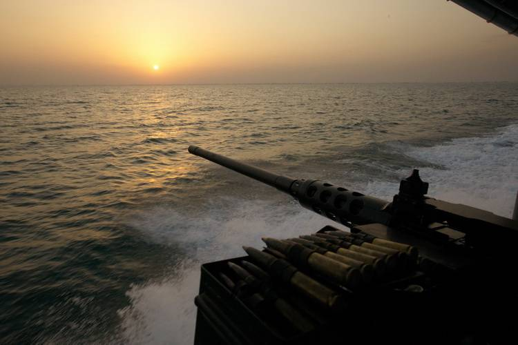 Sunset  boat patrol on the Persian Gulf