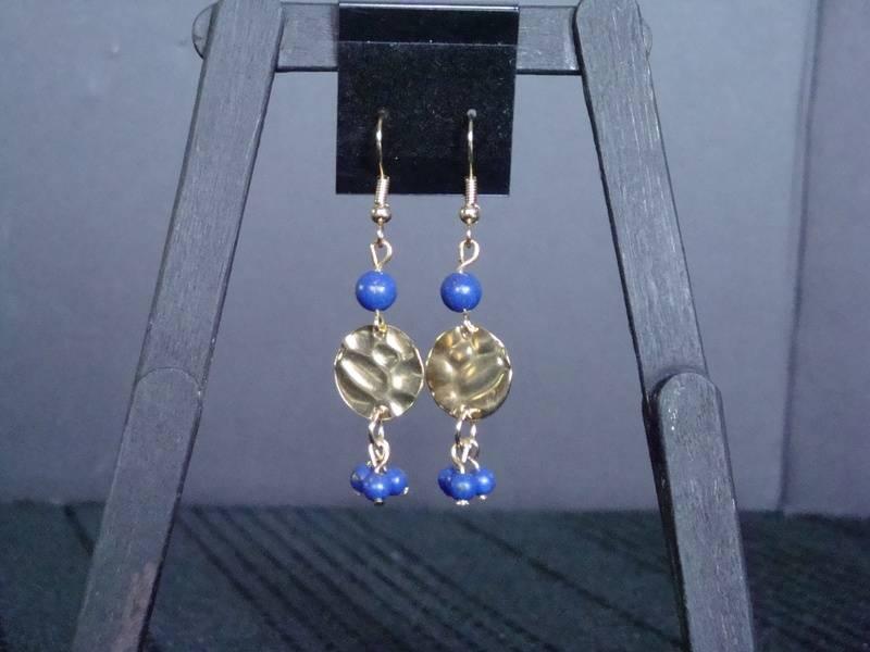 Blue Lapis 'n' Gold Medallions (Item #3057)  $10.00