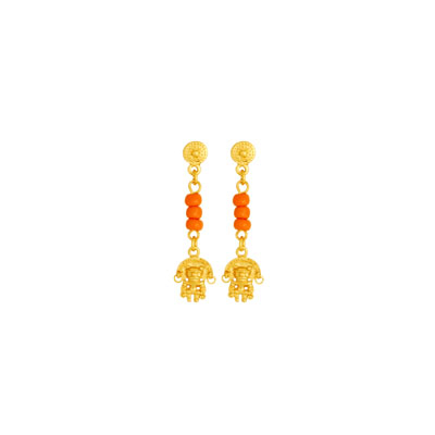Aretes de colgar Tunjo - Precolumbian Tunjo piece dangling earrings