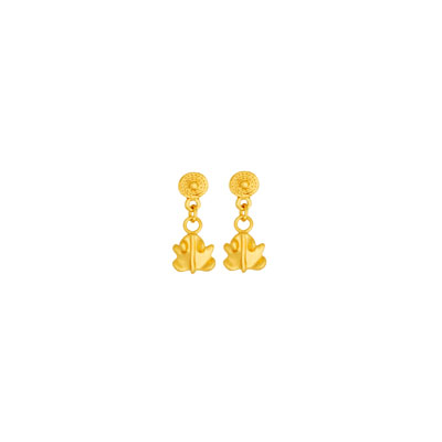 Aretes de colgar de ranita - Precolumbian tiny toad dangling earrings