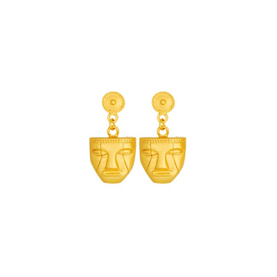 Aretes pequenos de mascara - Ethnic masc small dangling earrings