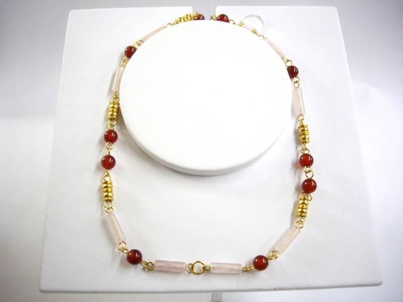 Collar de cuarzo rosado y agata - Rose quartz and agate necklace