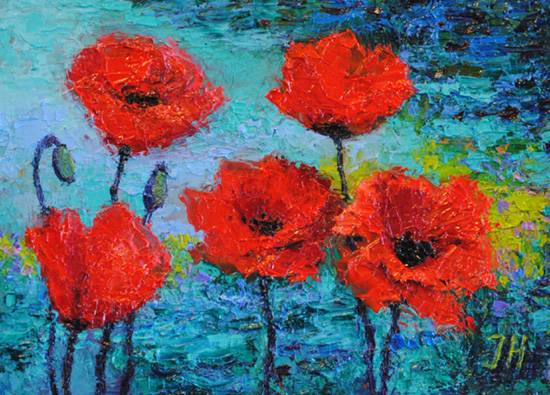 Poppies by the water.
