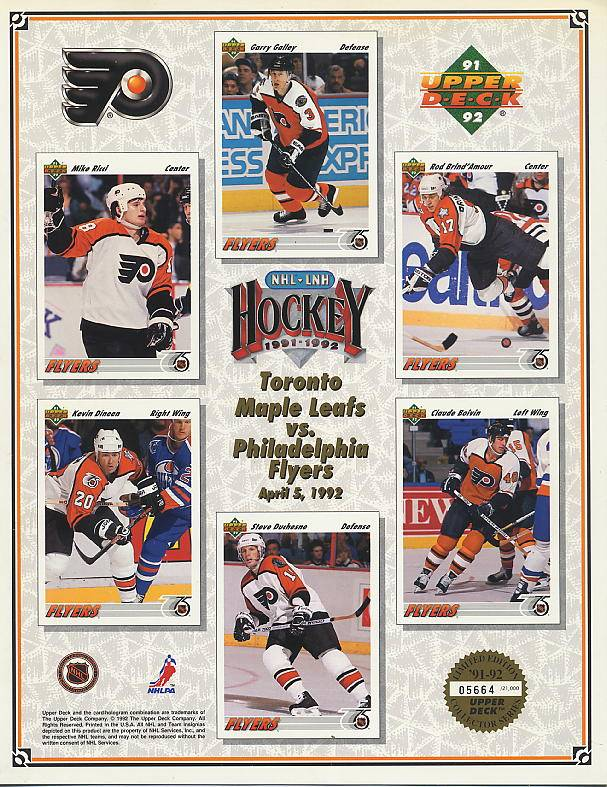 1991-92 Flyers UD Line-Up Sheet v. Toronto