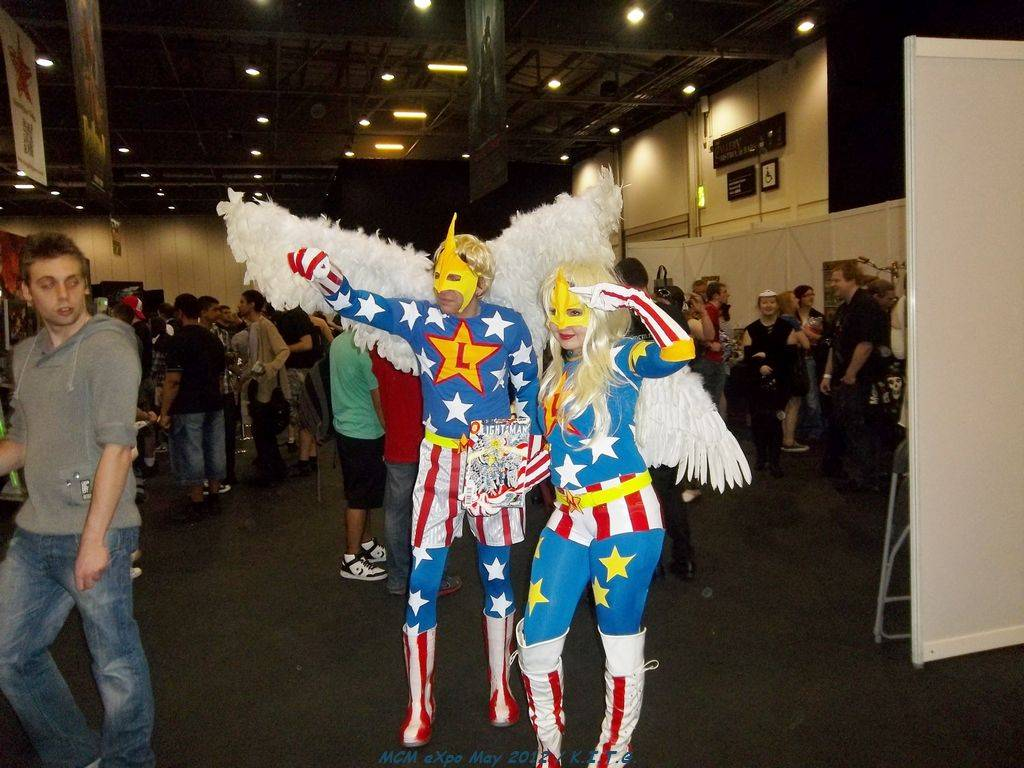 A pair of Cosplayers in matching outfits