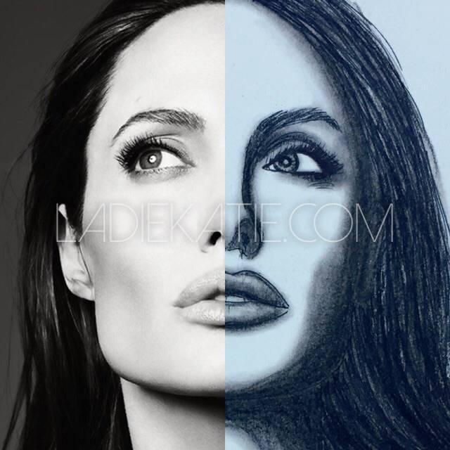 Angelina Jolie Charcoal Illustration and photo comparison
