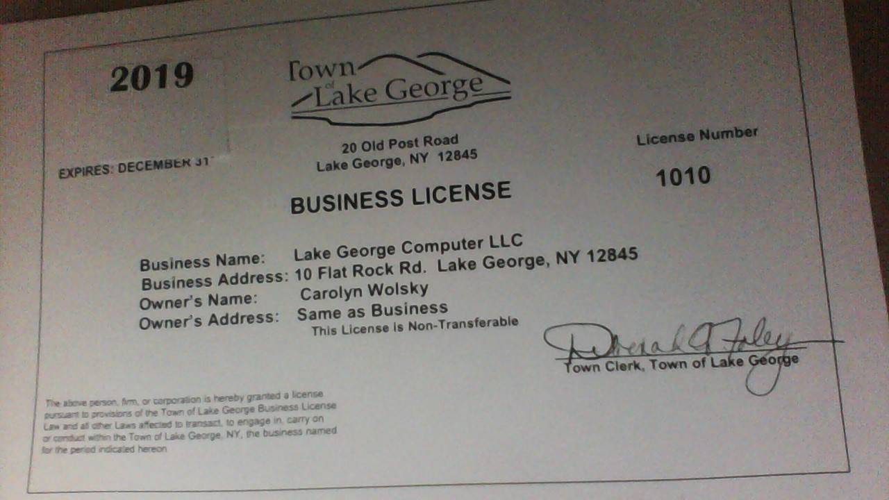 Town of Lake George Business License 2019