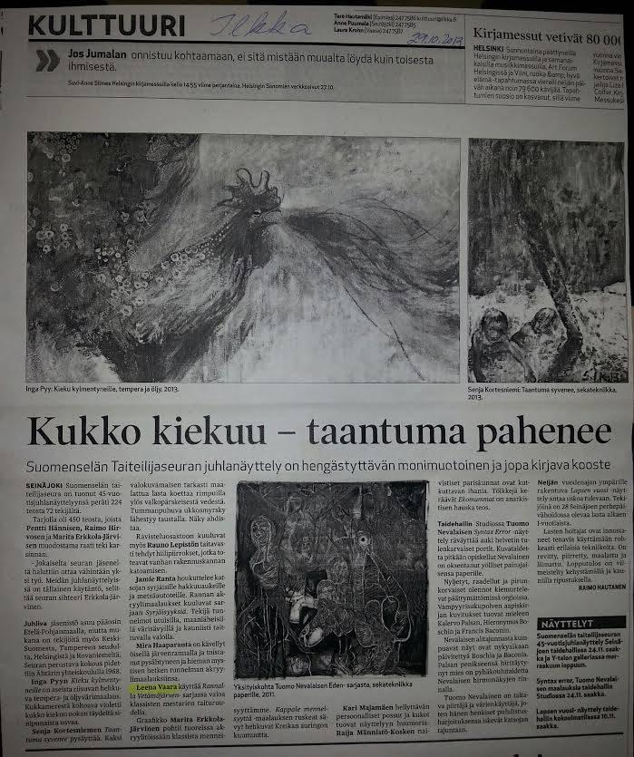 Newspaper Ilkka 29.10.2012