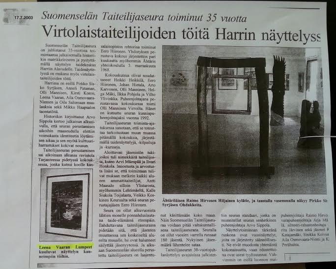 Newspaper Suomenselkä  17.7.2003