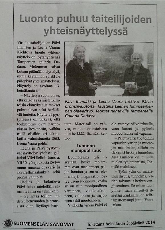Newspaper Suomenselkä 03.07.2014