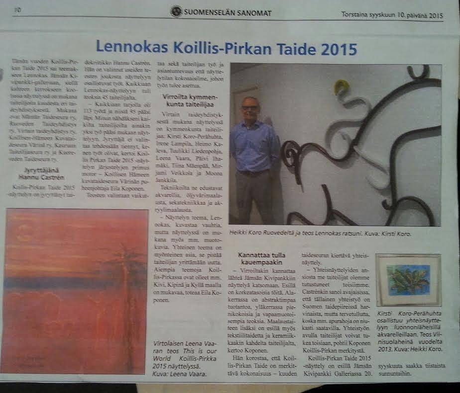 Newspaper Suomenselkä 10.9.2015