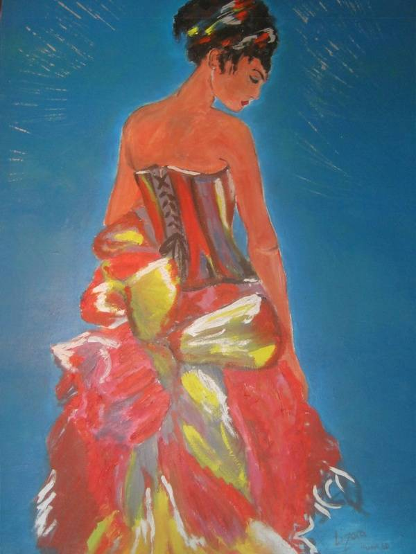 """Lady in Corset"" acrylic and oil"