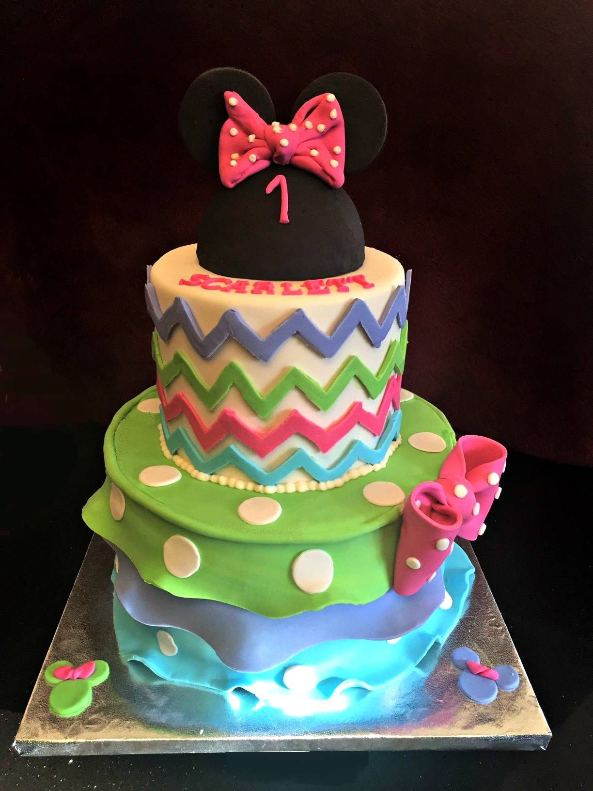 A colorful Chevron Minnie Mouse Cake
