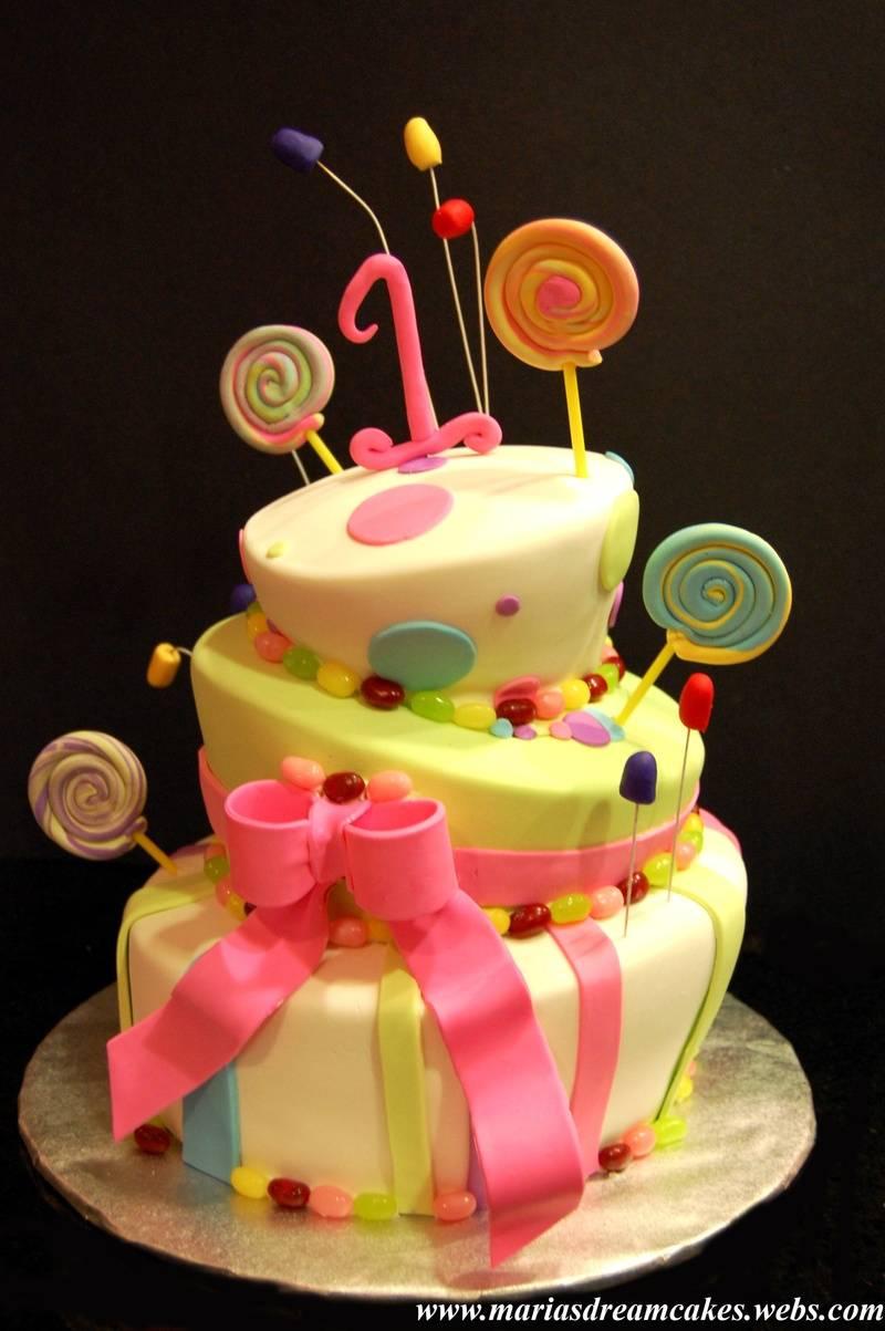 Topsy turvy Candyland themed birthday Cake