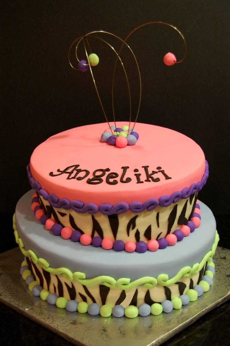 Topsy turvy Zebra print Cake