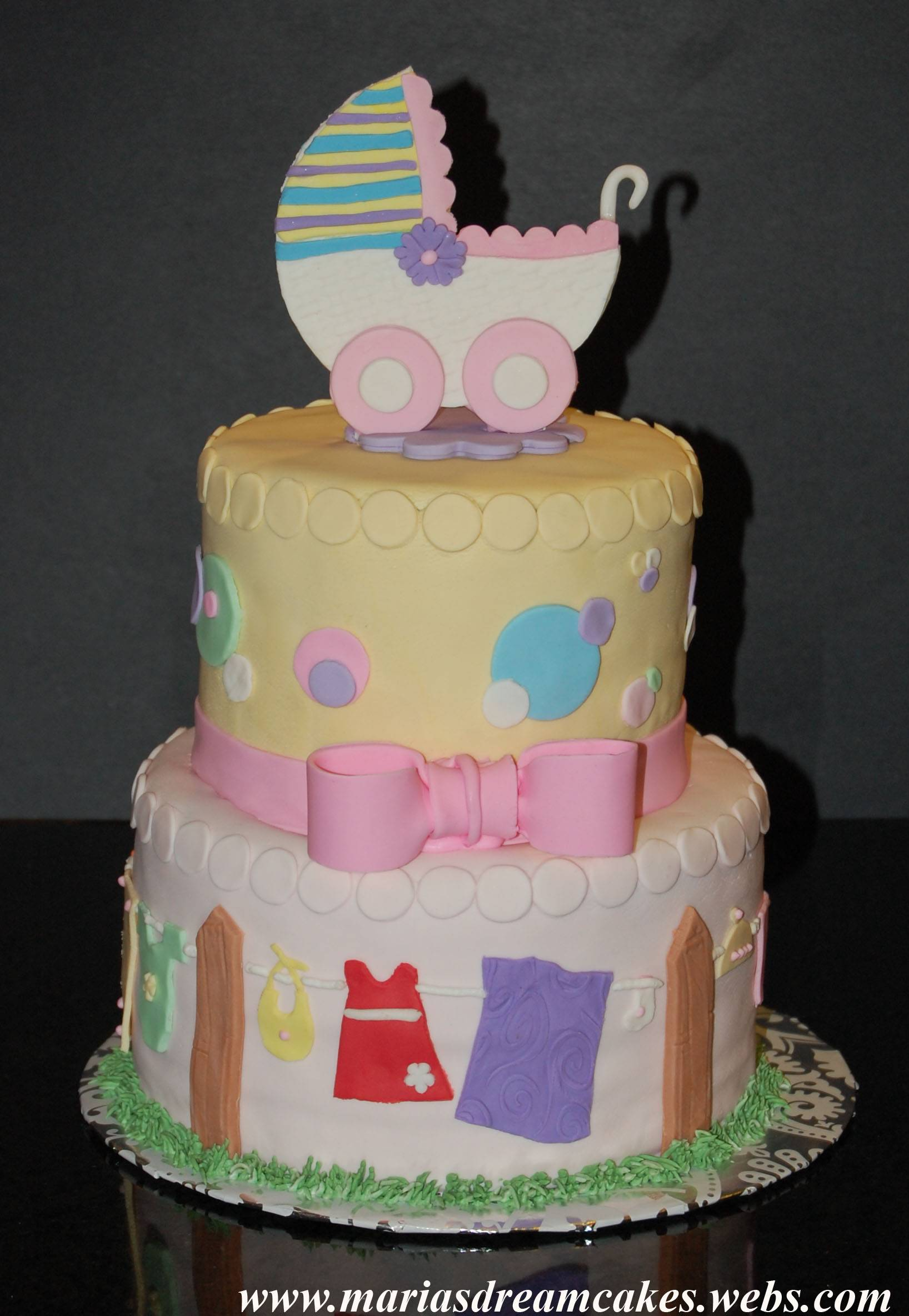 Baby shower with gumpaste carriage topper