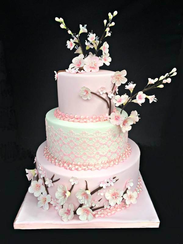 Cherry blossom themed wedding cake