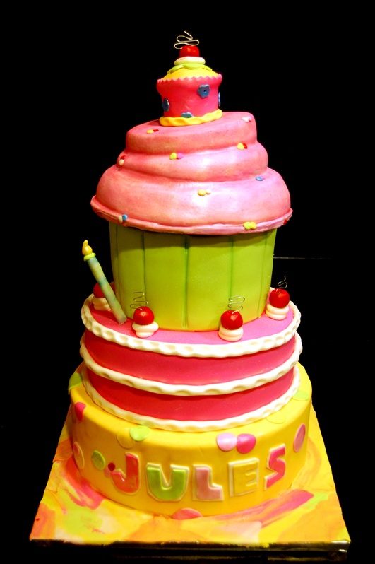 Giant cupcake theme 1st birthday cake