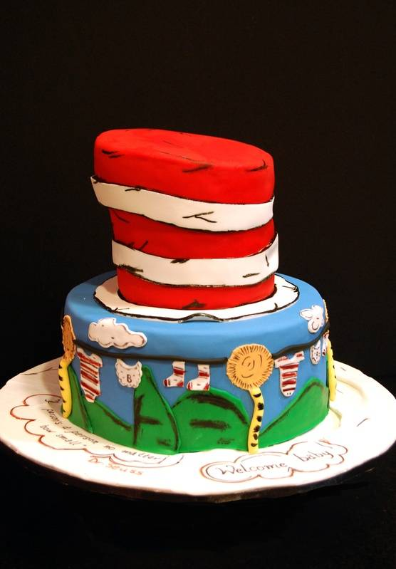 Dr. Seuss themed baby shower cake