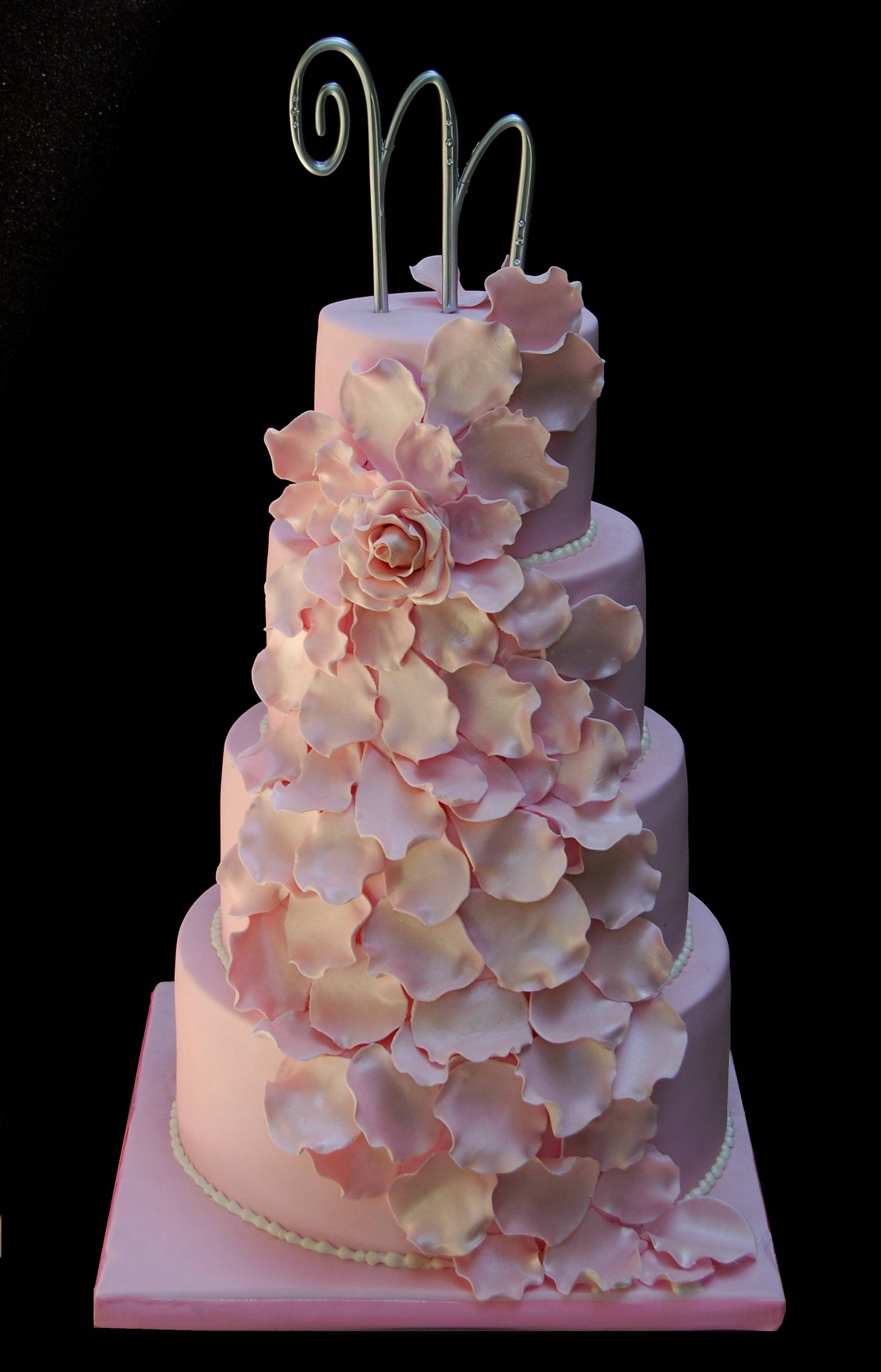 Cascading Petals wedding cake
