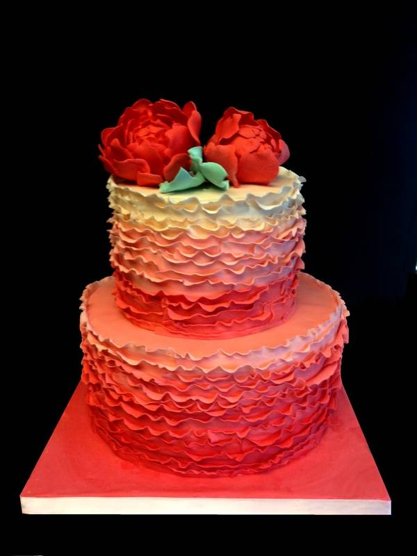 Close up of the first cake- Ombre ruffled cake with gumpaste peonies