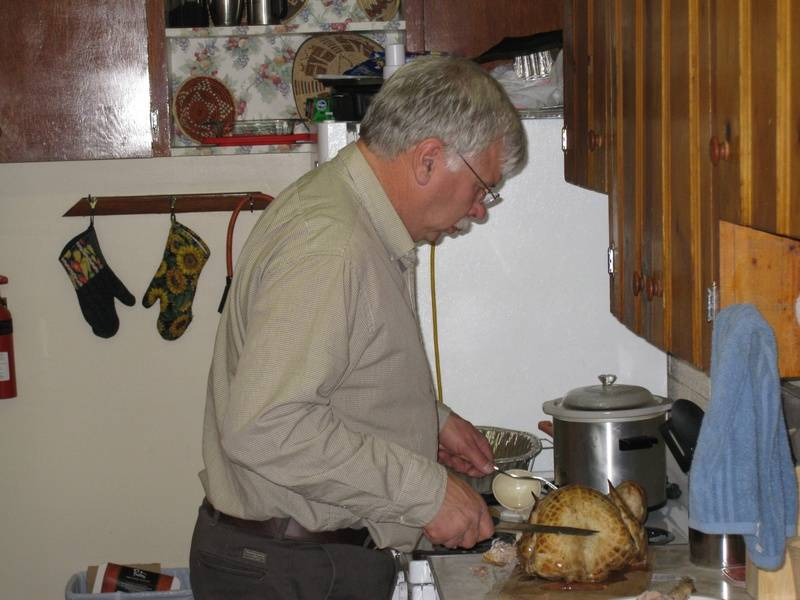 Dave carving the bird