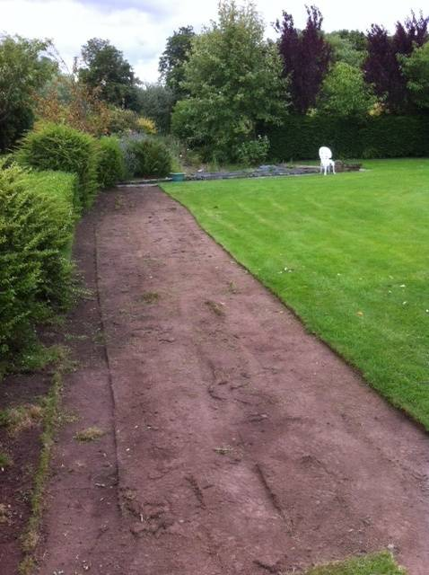 Long border after turf cutting