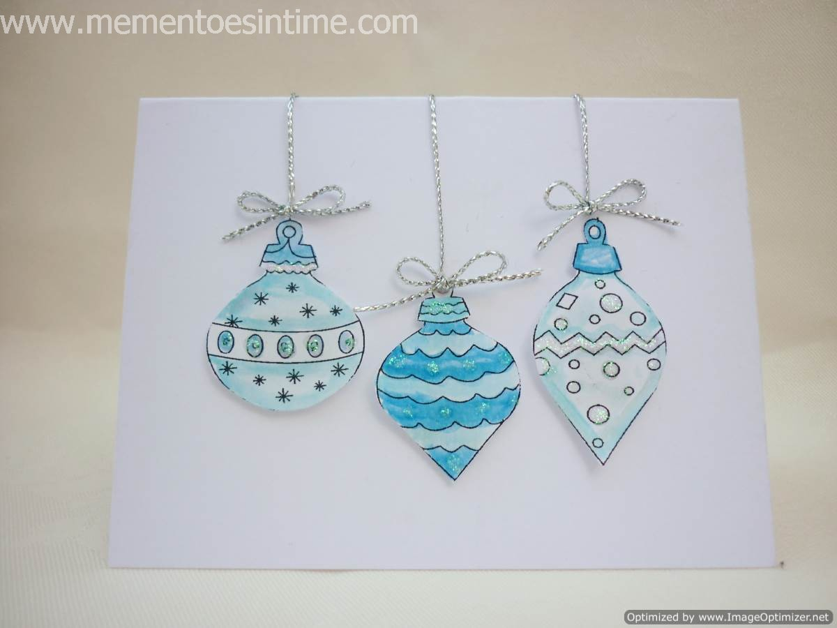 Silver and Blue Hanging Ornaments Card