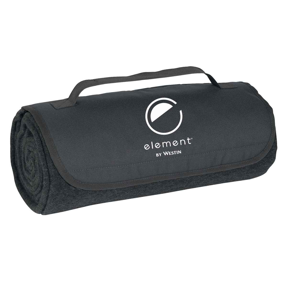 """Roll-Up Blankets. Color: Charcoal. - Large 48"""" x 53"""" 100% Soft Polyester Fleece - Velcro Closure & Carrying Strap"""