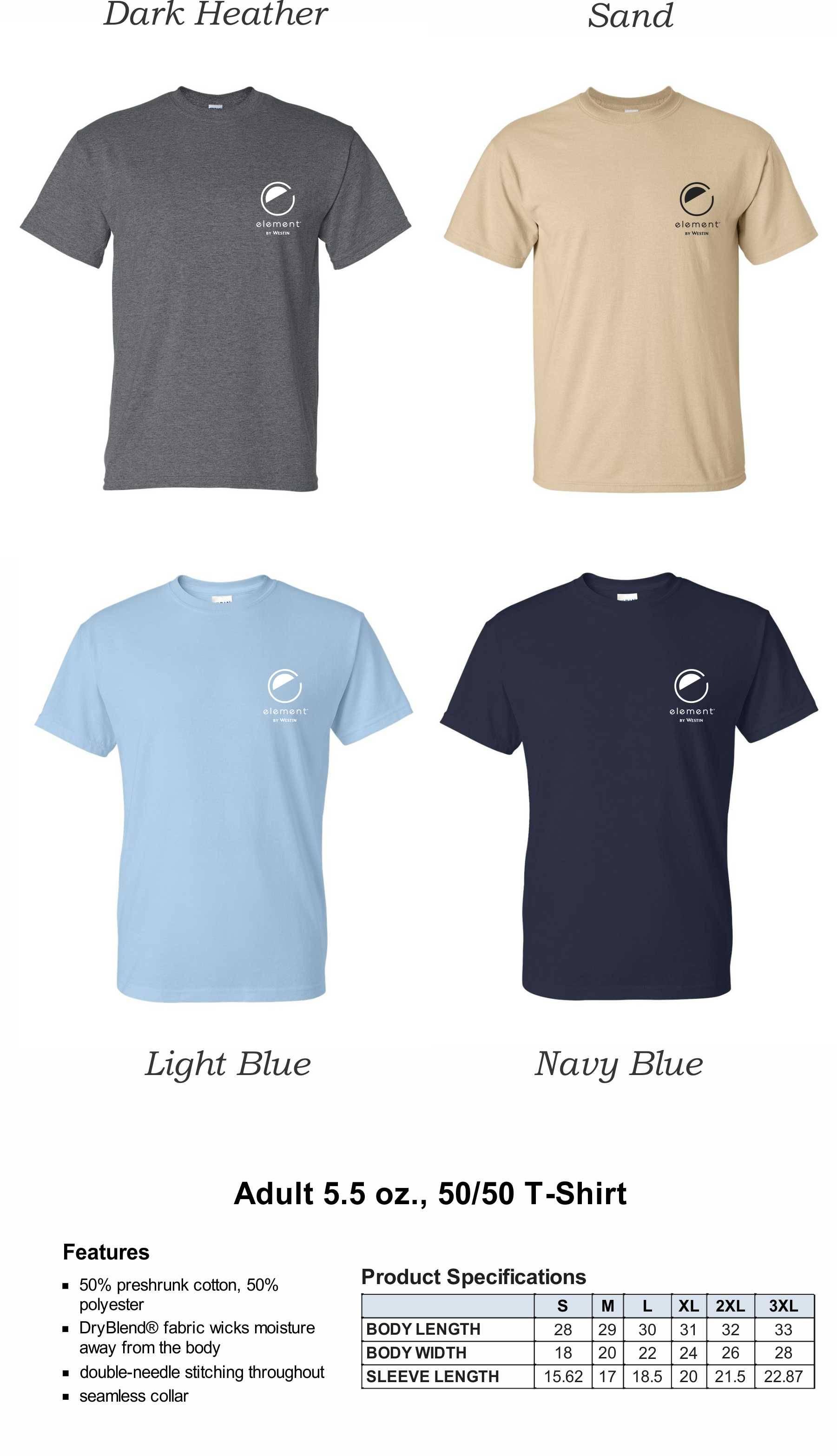 T-Shirts, HeavyWeight 50/50 DryBlend Fabric   Silk-Screen Logo