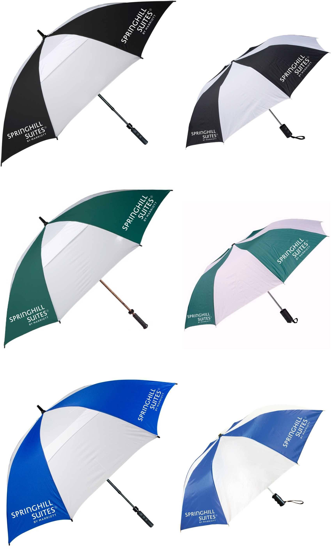 """(62"""") Golf/Gatehouse Umbrellas + (42"""") Auto-Open Umbrellas   (2) LOGOS on each umbrella!"""