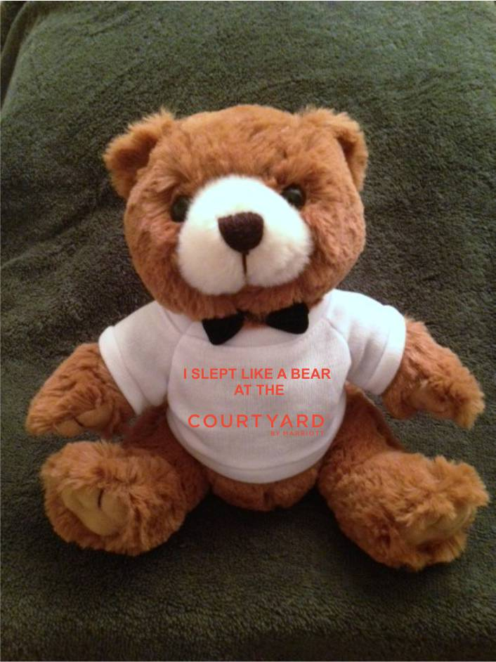"Teddy Bears, Plush. - ""I SLEPT LIKE A BEAR AT THE COURTYARD"" - 9"" Tall.  Makes a special gift"