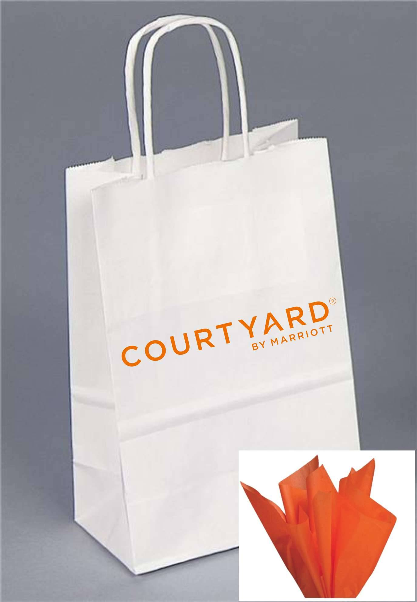 """Gift Bags with Rope Handle - Unique foil-stamped Courtyard by Marriott logo - Includes ORANGE tissue paper with every gift bag! - 8.25""""H x 5.00""""W x 3.50"""""""