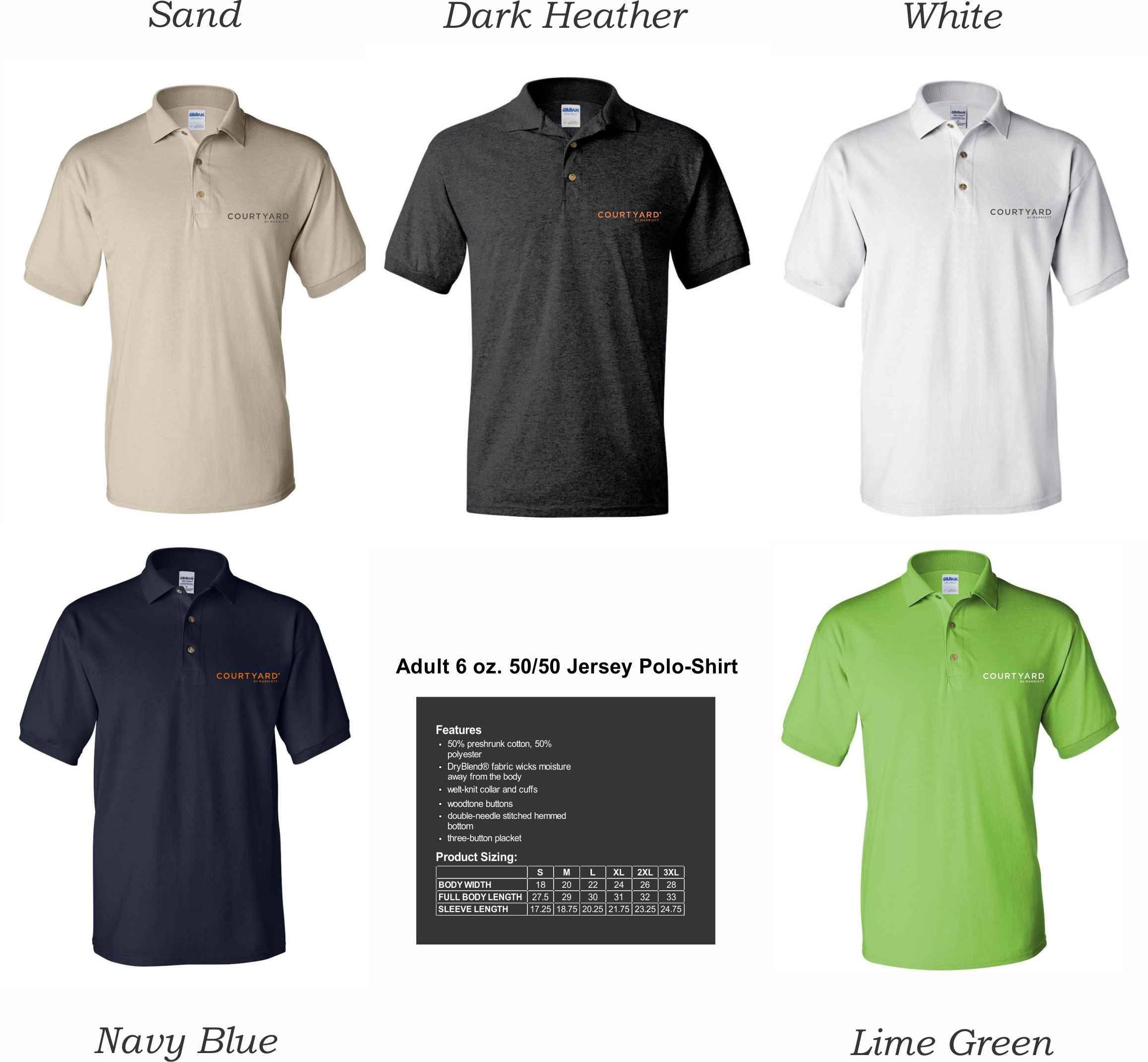 Polo Shirts, DryBlend 50/50 Fabric   Silk-Screen Logo - 3-Button Placket - Knitted Collar/Cuffs