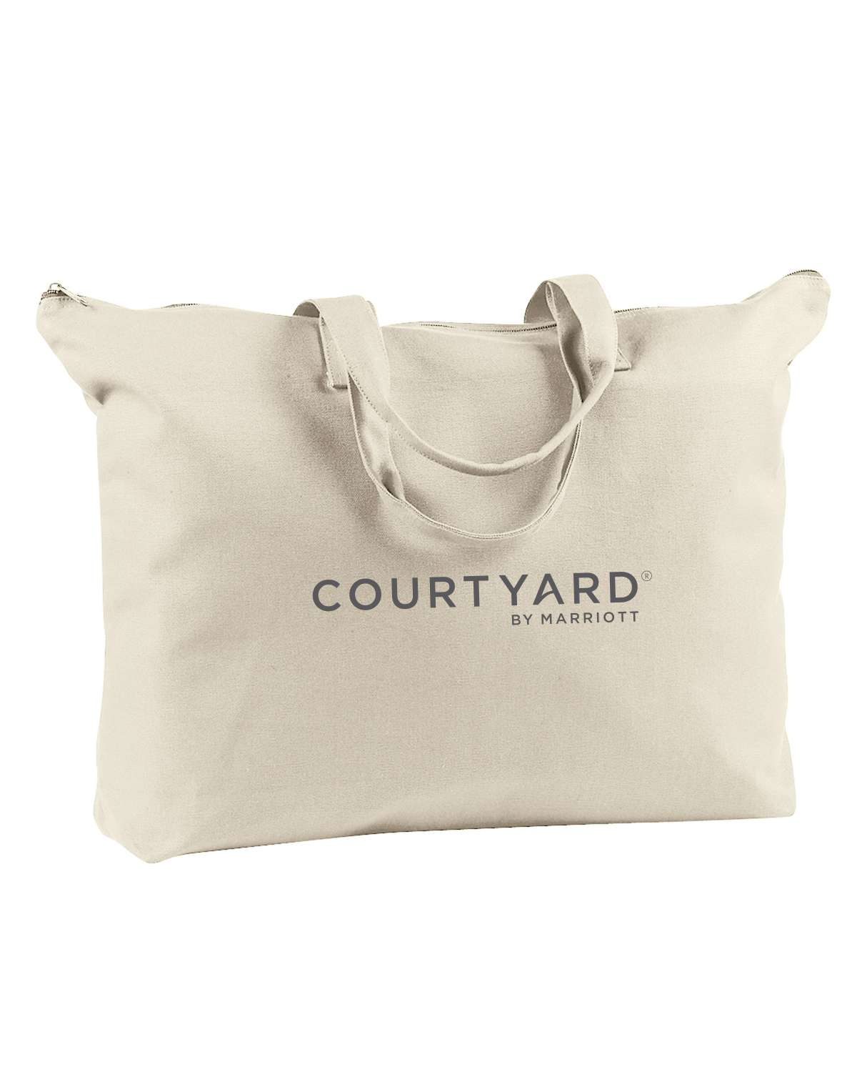 """Canvas Tote Bags. Color: Natural. 22""""L x 15""""H - Carrying Handles - Zippered Top AND Zippered Inside Pocket!"""