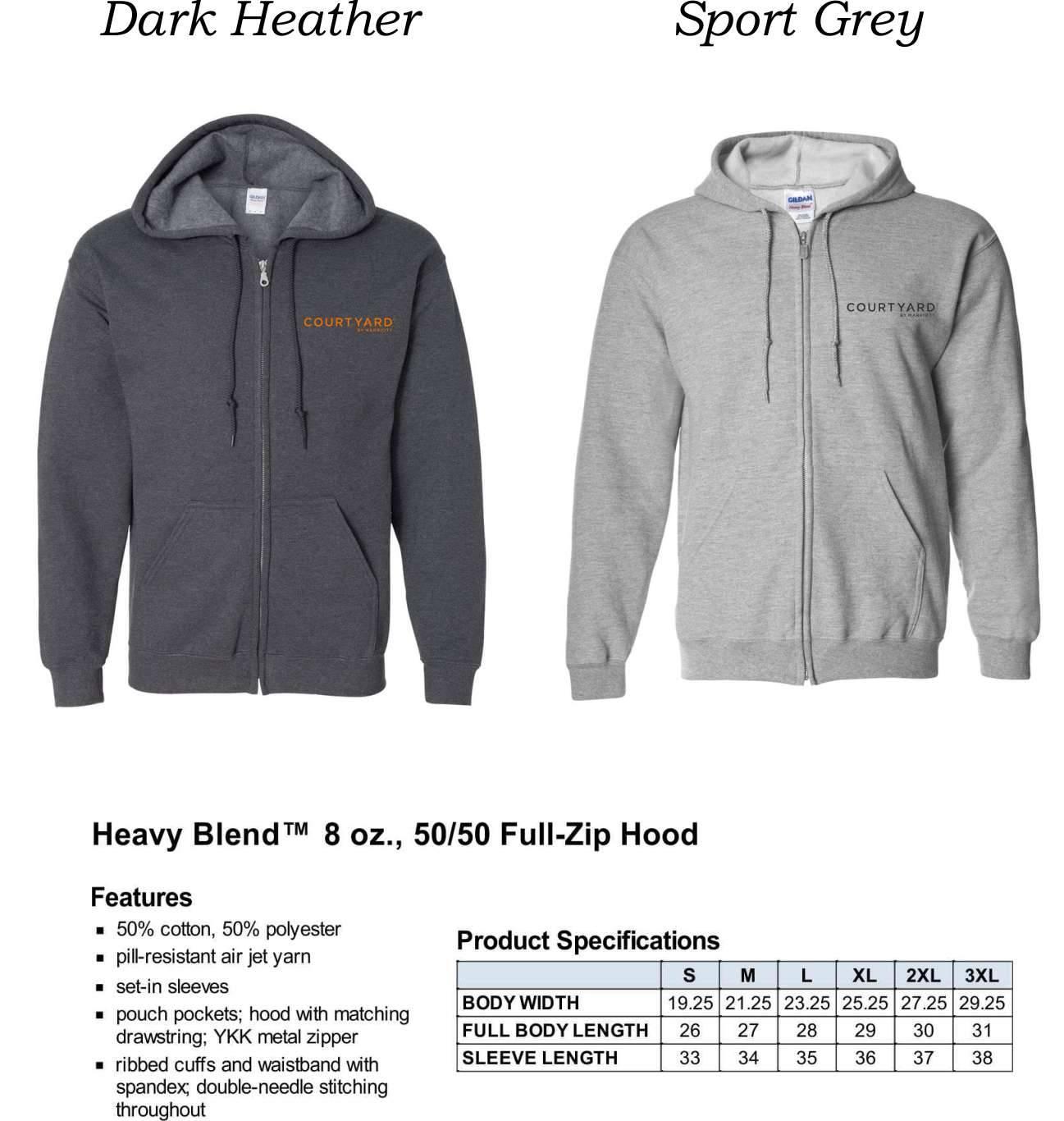 Zip-Up Hooded Fleece Sweatshirts | Heavyweight 50/50 Fabric | Silk-Screen Logo