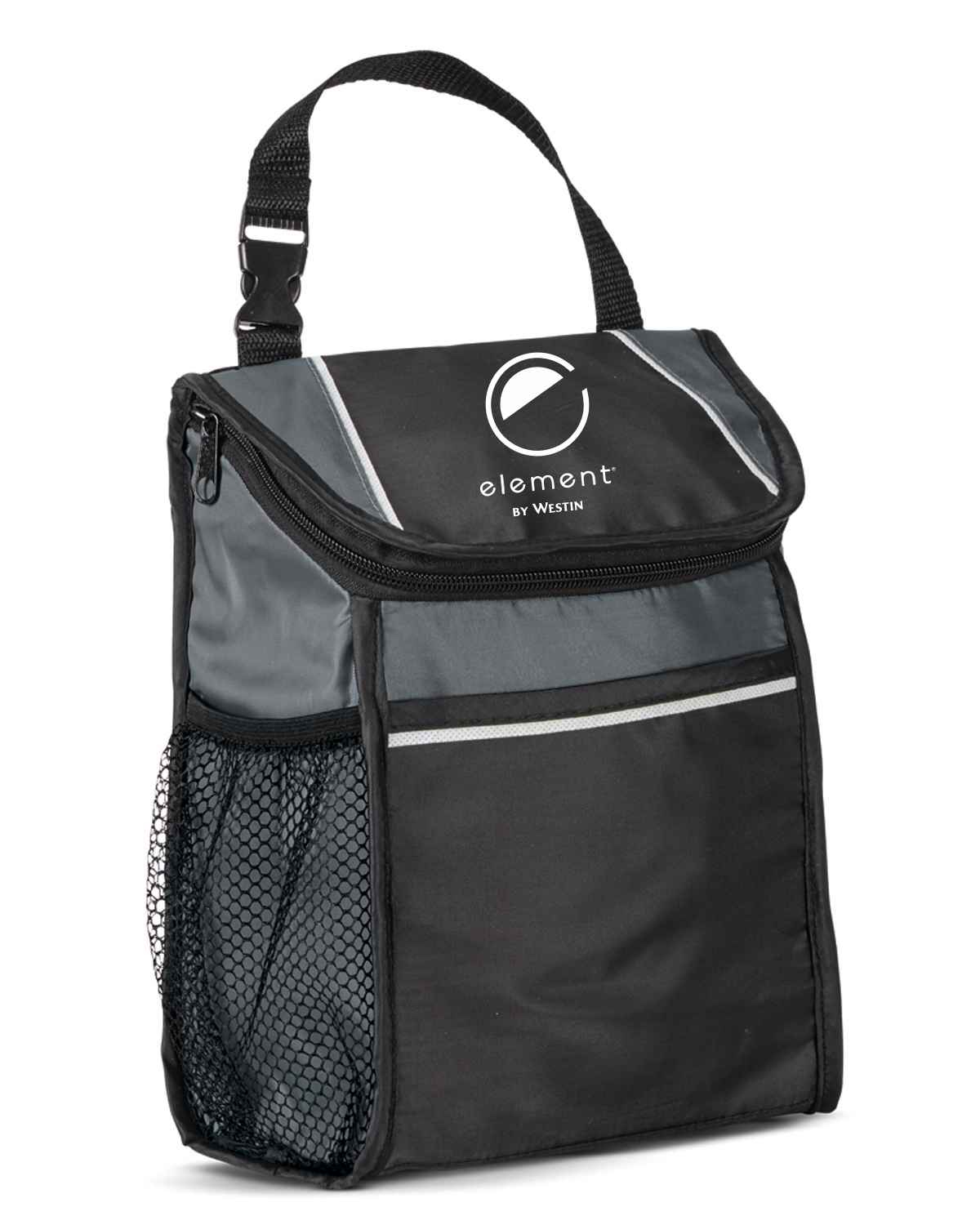 """Lunch Cooler with Thermal Lining. 9""""L x 10""""H x 3.5""""W - 6 Can Capacity - Zippered Closure - Front Pocket - Side Mesh Watter Bottle Pocket - Removable I.D. Tag - Phthalate and PVC Free"""