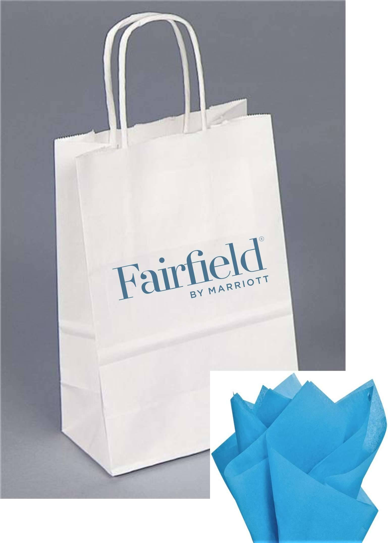 "Gift Bags with Rope Handle - New reflective foil-stamped Fairfield logo  - Includes BLUE tissue paper with every gift bag! - 8.25""H x 5.00""W x 3.50"""